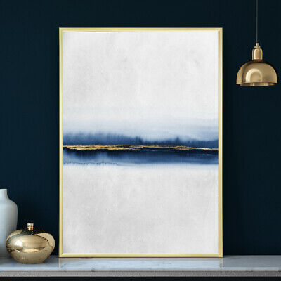 Blue & Gold Wall Art Minimalist Abstract Decor Watercolour Painting Print Poster
