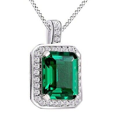 3.10 Cttw Green Emerald & White Sapphire Drop Pendant Necklace 14K Gold Over