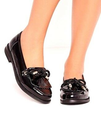 Missguided Ladies UK 7 Black Patent Faux Leather Tassel Slip On Loafer Shoes