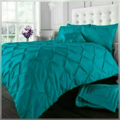 Pin Tuck Duvet Set 50% Cotton Quilt Cover Single Double Super King Size Bedding