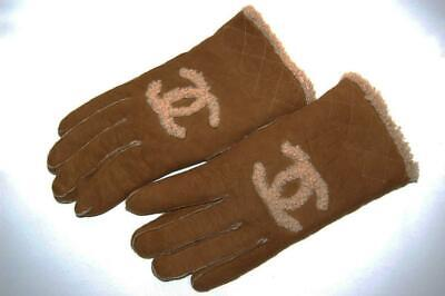 Auth Chanel Gloves Leather Mouton Blown Beige Size:8 Lady's Coco Mark S/F