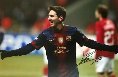 Lionel Messi ~ Barcelona ~ SIGNED PHOTO 12X8 WITH COA