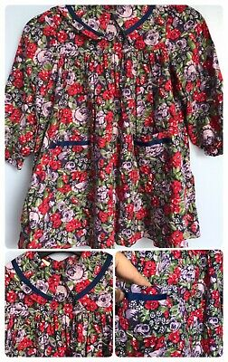 Laura Ashley Mother & Child Vintage 80s 90s Floral 100% Cotton Smock Dress 2-3