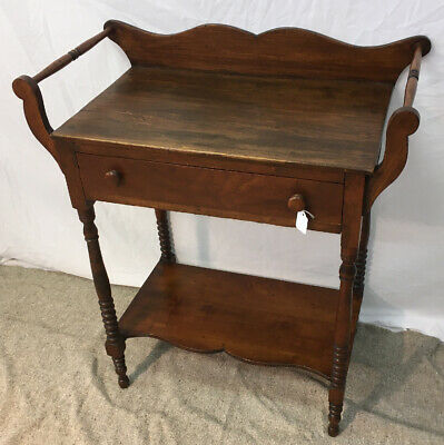 Antique vintage one drawer Wash Stand towel bars mixed woods victorian