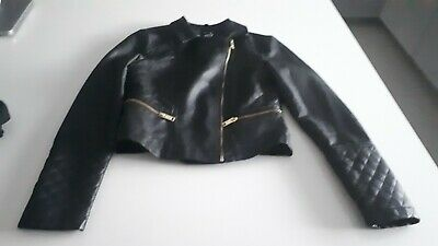 Girls Black Leather Biker style jacket Age 10-12