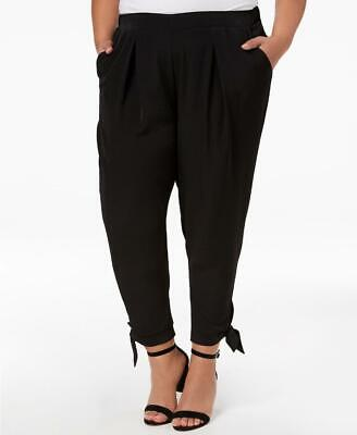 Women Plus Size NY Collection Black Tapered Tie-Hem Casual Pants 3X 10864