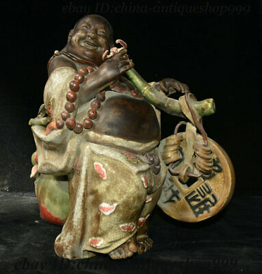 """16"""" Collect Old Chinese Porcelain Happy Laugh Maitreya Buddha Coin Peach Statue"""