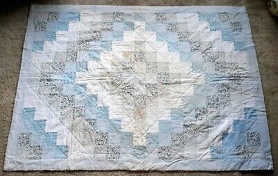 VTG Handmade Quilt Small Baby Blanket Floral Pastel Blue 60 x 44 Squares Cross