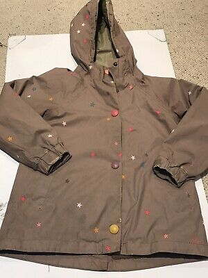 Joules Girls Raincoat - Sz 8 Years - With Star Pattern And Fleece Cozy Lining