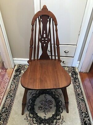 Antique Victorian Hoop Backed Wood Chair Stamped
