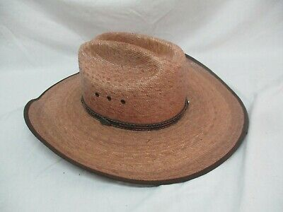 Larry Mahans PANCHO GUS PALM STRAW WESTERN HAT By Milano Hat Co 6 7//8 SMALL 55