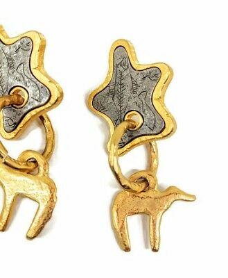 "2"" UNIQUE gold LARGE statement Fossil Paleontology archeology jewelry earrings"