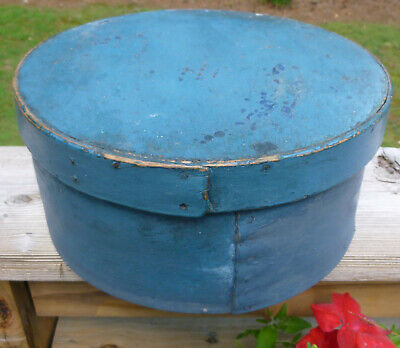 Antique Pantry Box In Old Blue Paint