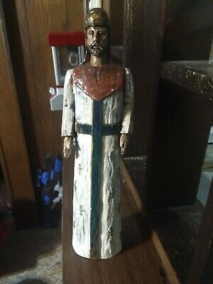 """Rare Antique Religious Wood Carved Saint Santos Statue Mexico Painted 15"""" in"""