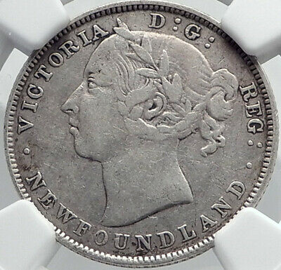 1890 CANADA NEWFOUNDLAND UK Queen VICTORIA Genuine Silver 20Cent Coin NGC i81980