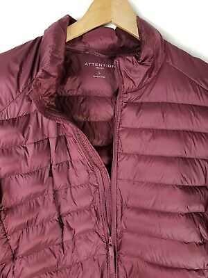 Attention Mens Large Down Fill Lightweight Winter Coat Puffer Jacket Maroon