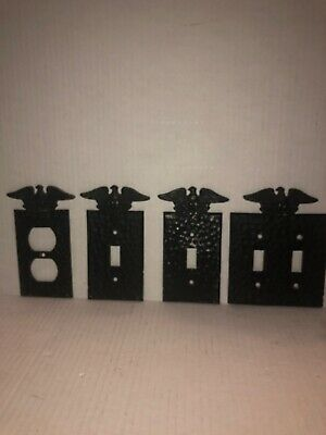 EMIG Switch Plate Covers Black Metal Eagle Wings Light Wall Outlets Lot Of 4