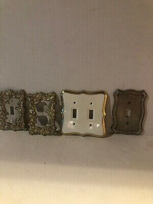 Brass Lot Ornate Victorian Outlet Switch light Plate Double Wall Decor Lot Of 4
