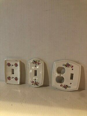 VINTAGE FLORAL PORCELAIN DOUBLE LIGHT SWITCH PLATE COVERS Double Wall Vtg Floral