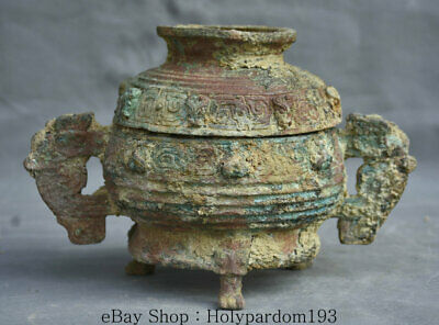 "9"" Rare Old Chinese Dynasty Bronze Ware Beast Ears Pot Jar Crock Censer Vessel"