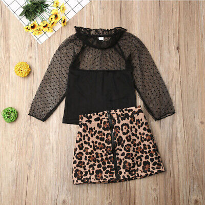 Fashion Baby Girls Autumn Clothes Lace Tops Leopard Skirt Dresses Outfits Set