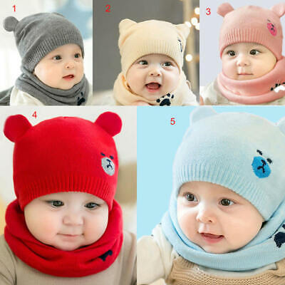Baby Toddler Girls Boys Warm Hat Winter Beanie Hooded Scarf Earflap Knitted gh