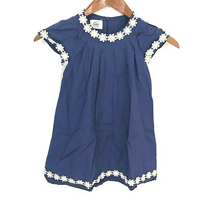 Mini Boden Blue White Embroidered Floral Daisy A-Line Dress Girls Size 4-5 Years