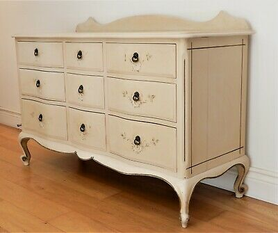 antique French Chest of Drawers Painted Vintage Hamptons style Louis XV