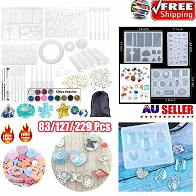 Handmade Crystal Glue Mould Mold Set Resin Jewelry Silicone Mold Kit 229 Pcs DG