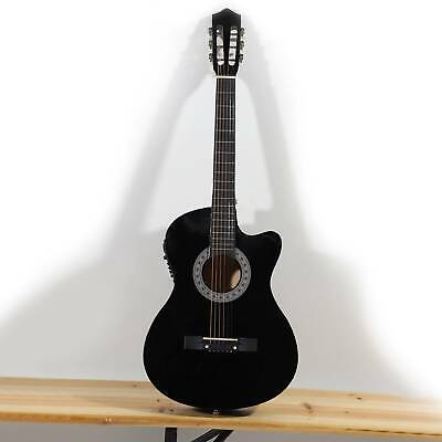 Cutaway Electro Acoustic Guitar Beginner Pack Case,Strap & Tuner 6-Strings Black