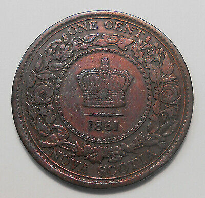 1861 Nova Scotia Large Cent F Very Nice FLASHY LB Queen Victoria 1st N.S. Penny