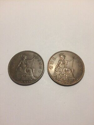 George V Penny 1934 Harder Date and 1935 A/UNC. Nice pair