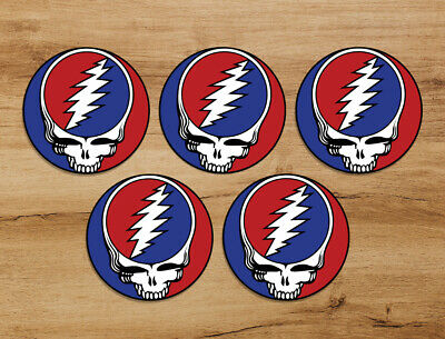 Grateful Dead Steal Your Face Skull 5-pack 3in Premium Sticker Jerry Garcia