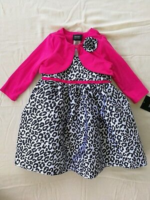 Baby Girls' 2pc Leopard Dress and Fuchsia Cardigan Set For 12M