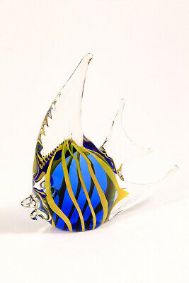 Art Glass Tropical Angel Fish Paperweight Cobalt Blue Yellow Clear Striped