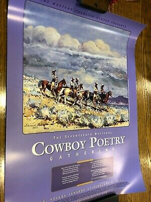 Cowboy Poetry Gathering 2001 Poster Edward Borein Five Men on Horse Collectible