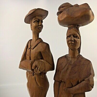 """Vintage Pair of Hand carved Wooden Figures El Salvador Man And Woman 11"""""""