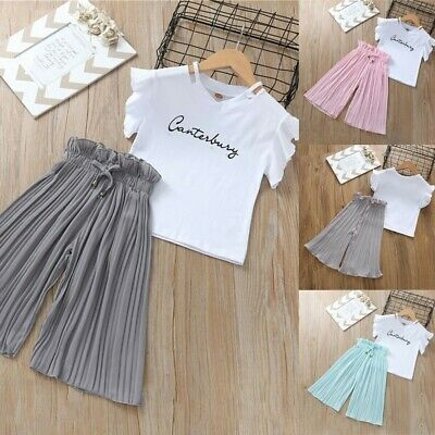 Children Kids Baby Girls Letter T Shirt Tops+Ruffle Loose Pants Trouser Outfits