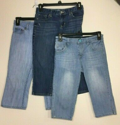 LOT of 3 Girls Blue Denim Cropped Jeans-Old Navy/Faded Glory (Size 12)