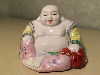 Chinese Porcelain Famille Rose Seated Buddha Statue Figurine