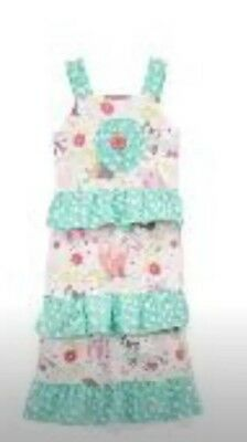 Jelly The Pug Maxi Dress NWT Sz 14 Girls White/mint Magical Woodland Print New