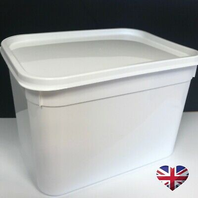 20 x WHITE 4 LITRE FOOD CONTAINERS PLASTIC ICE CREAM TUB STORAGE WITH LIDS