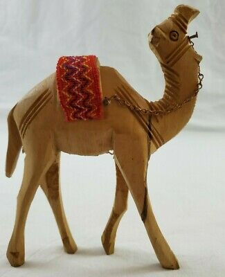 VINTAGE Hand Carved Solid Wood Camel  Wooden Animal Circa 1988 by J.S.