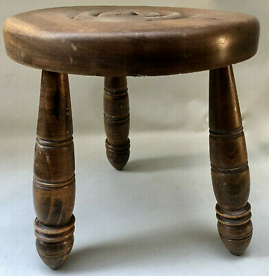 Vintage French 3 Leg Milking Stool With Turned Wood Legs & Circular Round Seat