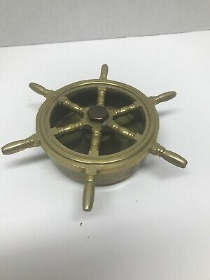 Nautical Vintage Solid Brass Helm Ship Wheel Ashtray Smoker Smoke Free Ship I64