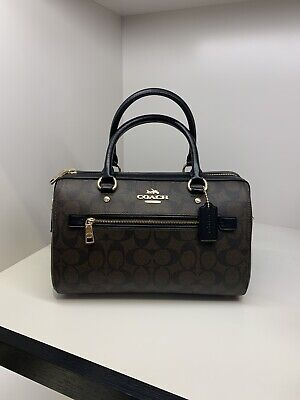 NWT Coach F83607 Rowan Satchel Bag in Signature Canvas Brown Black $328