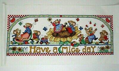 Finished Cross Stitch Mouse Picnic Have A Mice Day 12x24