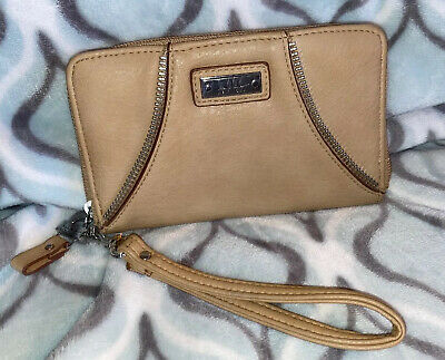 Nicole Miller Taupe Wristlet- Wallet With Silver Accents ~ Roomy!