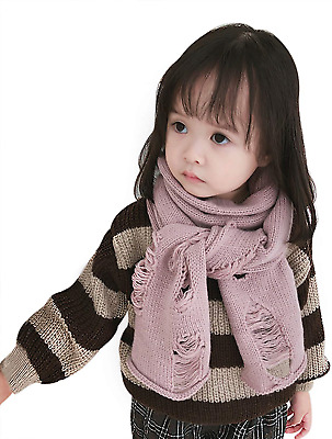 Kids Girls Novelty Ripped Scarf Cozy Warm Scarves Wrap Toddler Baby Infant Soft