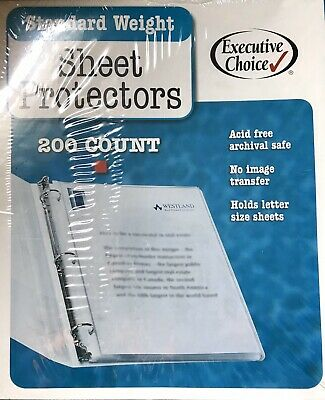 NEW Sealed 200 Clear Sheet Protectors, Holds 8.5 x 11 inch Sheets Clear Binder